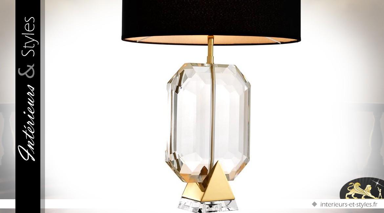 Lampe de salon design diamant noir et or 67 cm