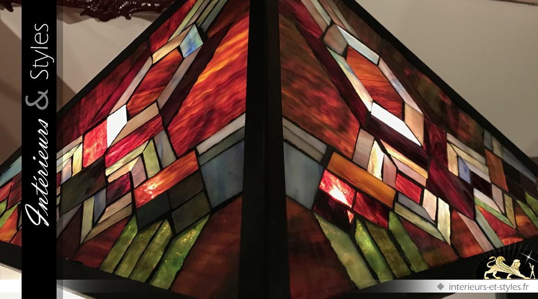 Grande lampe Tiffany : Sous un ciel carmin