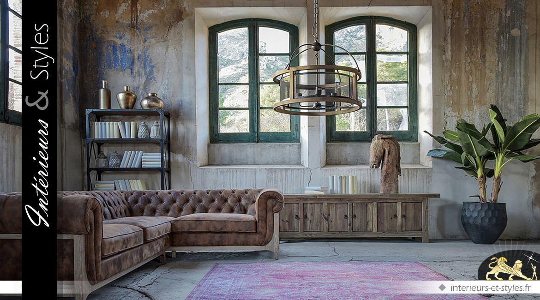 grand canap d 39 angle en cuir marron vieilli et capitonn. Black Bedroom Furniture Sets. Home Design Ideas