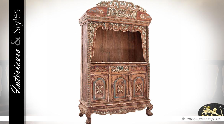 Armoire orientale bois recyclé et sculpté artisanalement patine vieillie 212 cm