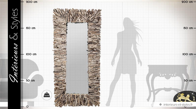 Grand miroir mural en bois flotté 180 cm