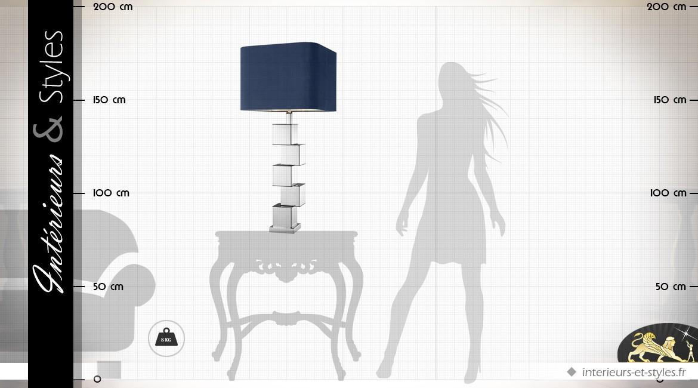 Grande lampe de salon nickel argenté et velours bleu nuit 91 cm