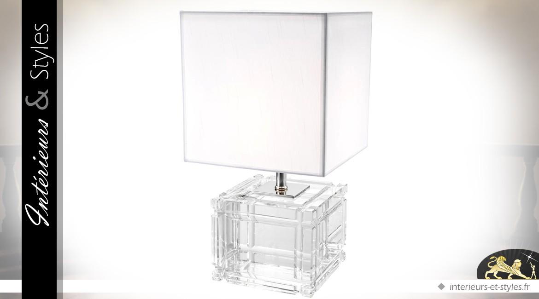 Lampe de prestige avec pied cubique en verre cristallin taillé et abat-jour blanc 57 cm
