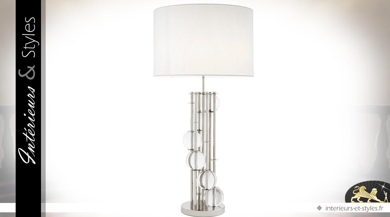 Grande lampe design argentée et blanche 85 cm