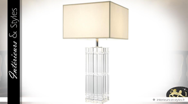 Grande lampe de prestige pied en verre cristallin taillé et abat-jour blanc cassé 88,8 cm