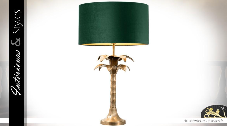 Lampe de salon rétro en laiton doré et abat-jour cylindrique en velours vert 76 cm
