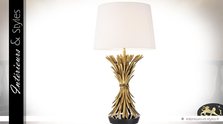Grande lampe gerbe de blé en laiton doré ancien avec abat-jour blanc 85 cm