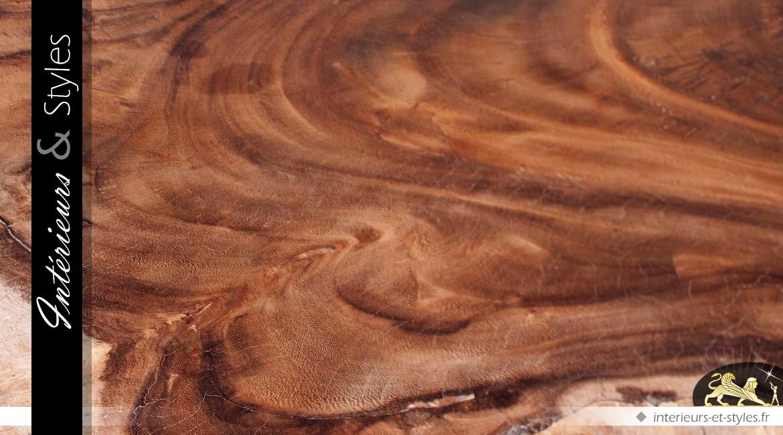 Table basse en suar massif aspect brut bois naturel effet vieilli 166 cm