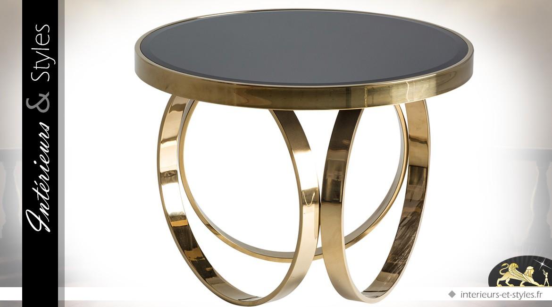 Table basse ronde noir et or de style Art Deco en verre noir et acier poli Ø 60 cm