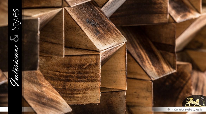 Miroir carré avec encadrement en fin damier de bois tropical 103 x 103 cm