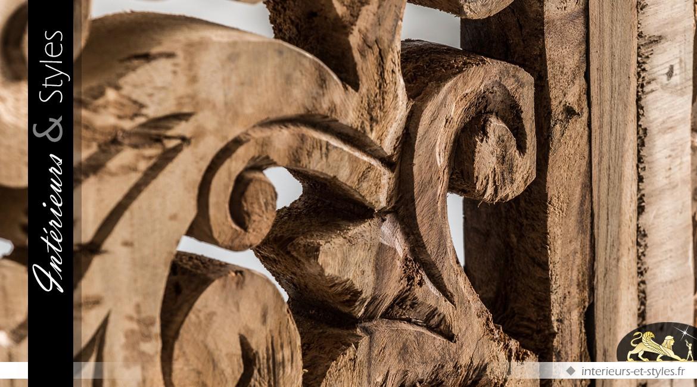 Panneau sculpté décoration murale bois vieilli style rustique 100 x 100 cm