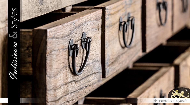 Grande console de style rustique et industriel 9 tiroirs 2 plateaux 190 cm
