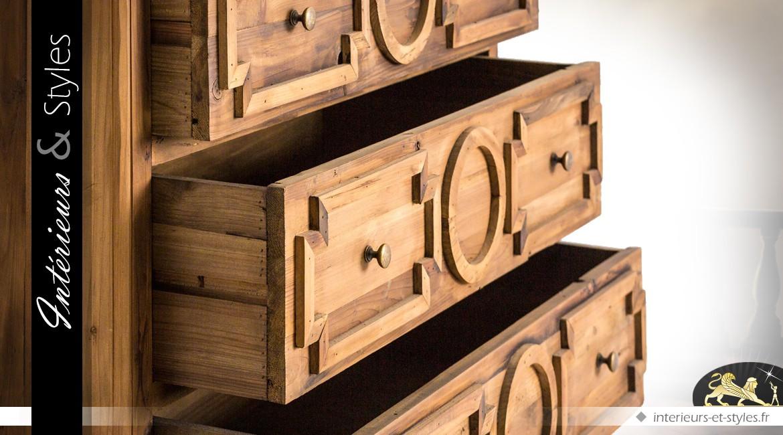 Commode à 3 tiroirs en pin recyclé avec panneaux de réserve en relief