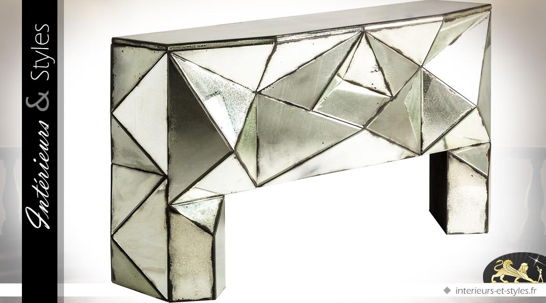 Console Art Déco finition miroir vieilli multifacettes argenté cuivré 150 cm