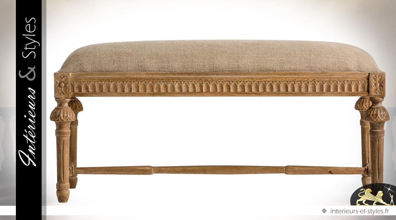Bout de lit de style Louis XVI en manguier sculpté avec assise en lin écru 100 cm