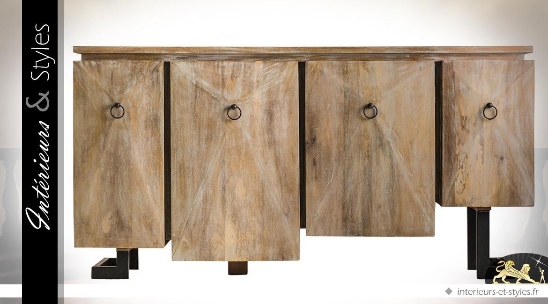 Buffet design en manguier effet vieilli avec façade asymétrique en relief 183 cm