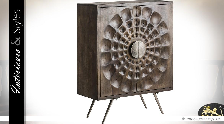 Armoire à 2 portes de style Art Déco en manguier massif et métal patine chocolat 112 cm