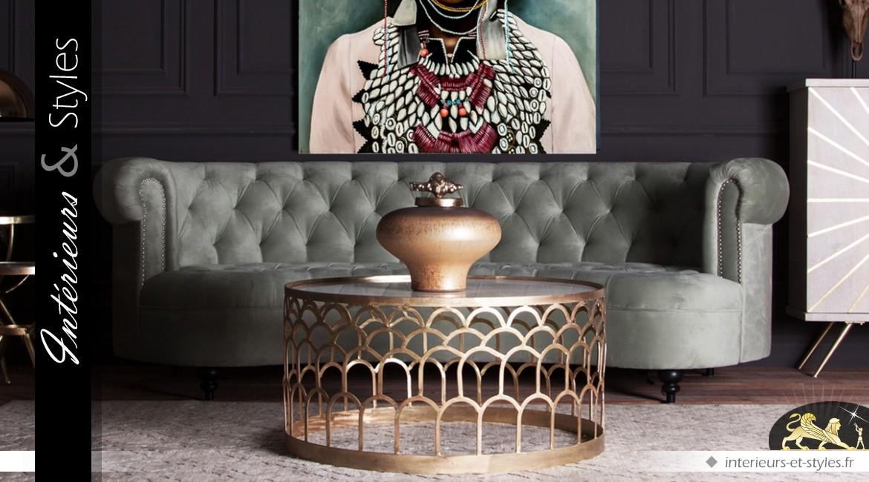 Table basse circulaire en métal doré et marbre style Art Déco Ø 91 cm