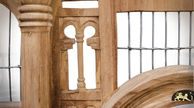 Grande cage à oiseaux décorative en acajou sculpté à la main 2,50 mètres