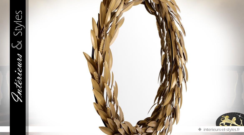 Miroir de luxe en métal doré vieilli couronne de laurier Ø 86 cm