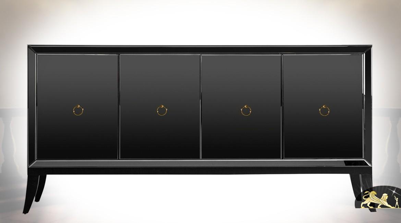 Buffet design Art Déco noir brillant en miroir et bois de pin laqué à 4 portes 180 cm