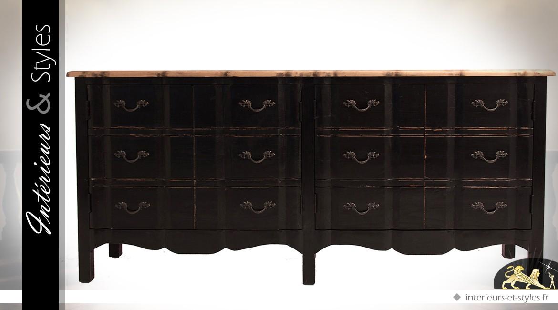 Buffet de style baroque à double façade en arbalète patine noire et bois naturel 198 cm