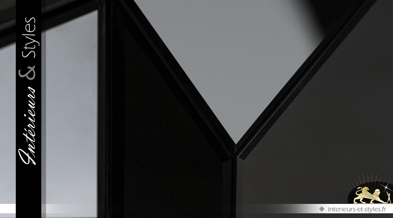 Enfilade design à 4 portes coloris noir et or en bois, métal et verre 181 cm