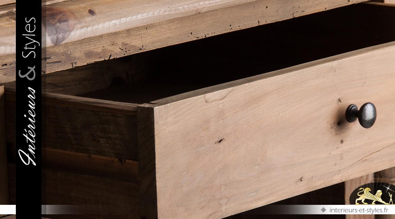 Enfilade à colonnettes à 4 portes de style rustique en pin recyclé 250 cm