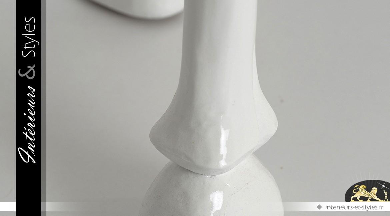 Console blanche brillante néo baroque avec pieds stylisés pattes de cheval 120 cm