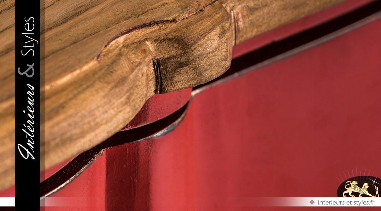 Commode rouge et bois naturel de style meuble provençal à trois tiroirs 140 cm