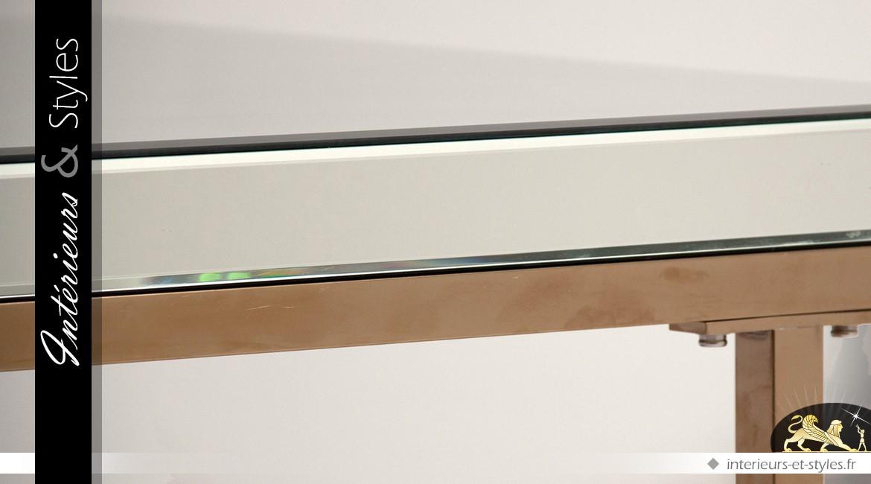 Table basse design Art Déco en miroirs biseautés et métal doré mat 120 cm