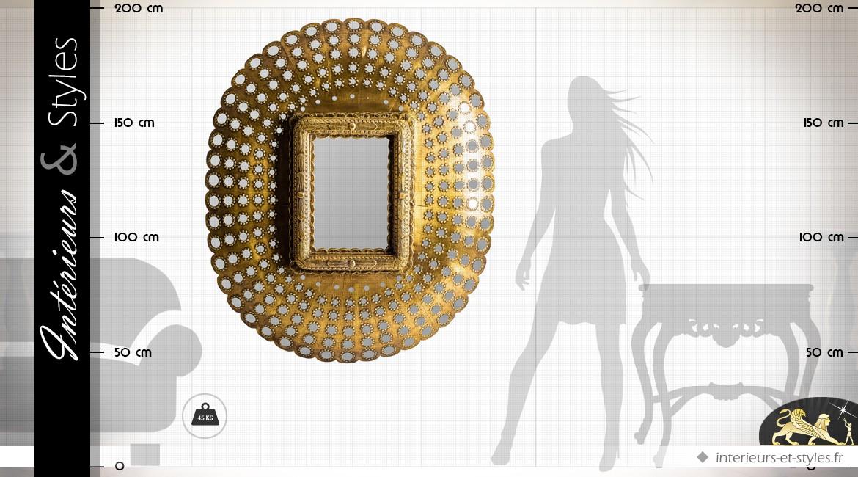 Miroir Art Déco en manguier et verre finition vieil or 150 cm