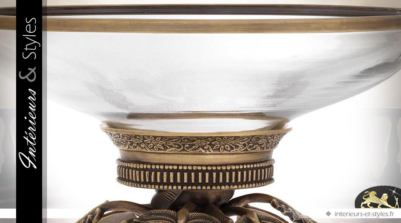 Lampe Art Déco avec pied en forme de palmier finition bronze ancien 50,5 cm