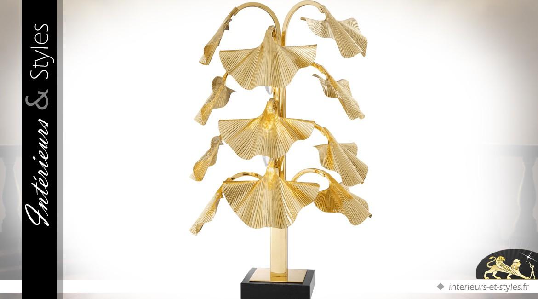 Lampe de table de luxe Ginkgo en laiton doré poli et granit noir 88 cm