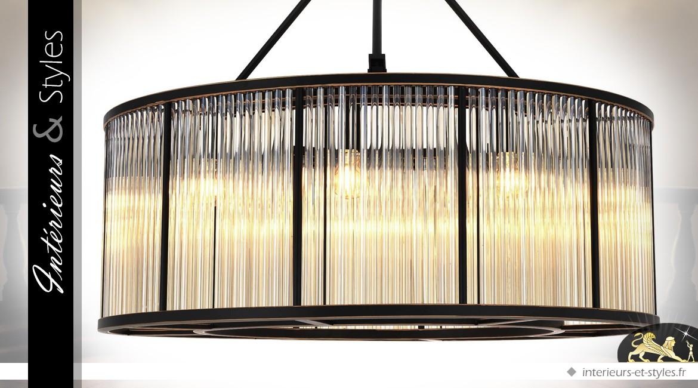 Lustre cylindrique design luxueux métal noir et tubes de verre Ø 80 cm