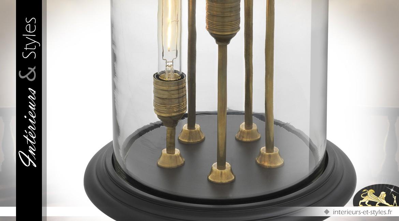 Lampe cloche verre cocktail Edison 5 types d'ampoules vintages 76 cm