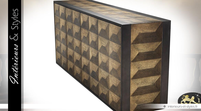 Commode/buffet en marqueterie de chêne avec motifs géométriques effet 3D 181 cm