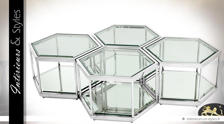 Composition de 4 tables basses hexagonales argentées de style design