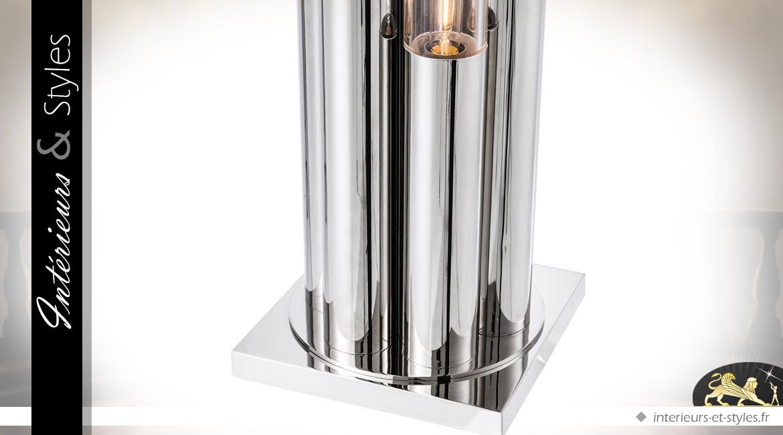 Lampe de sol design Art Déco Diva fini argent 175 cm