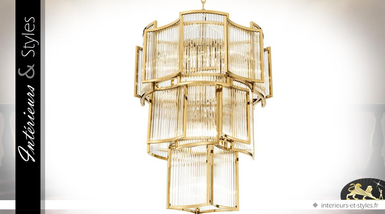 Lustre sculptural Art Déco finition dorée brillante à 10 points de lumière 84 cm