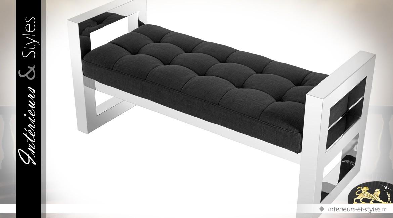Banc d'intérieur design en acier inoxydable argenté poli et velours noir 128 cm