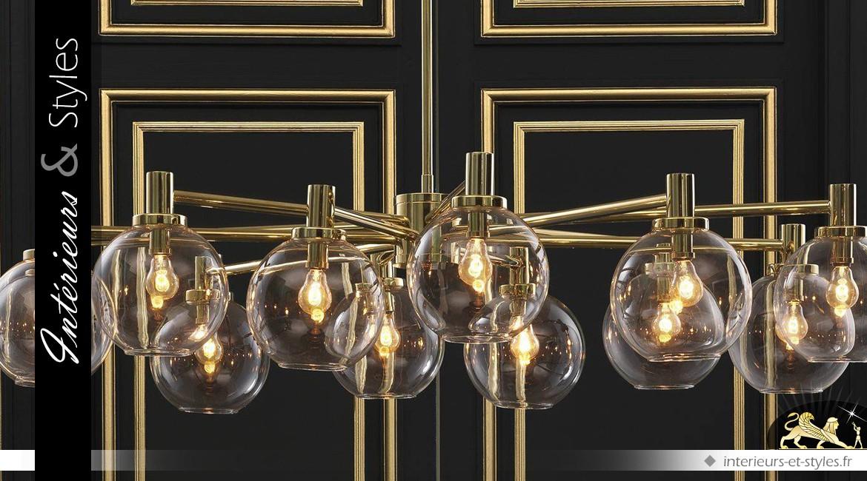 Suspension design dorée avec couronne 12 sphères en verre 105 cm