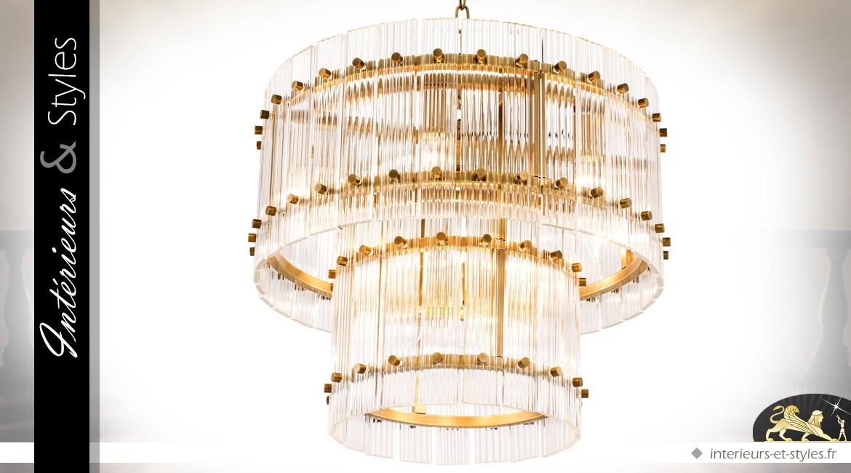 Lustre cylindrique double en laiton doré antique et verre clair nervuré Ø 57 cm