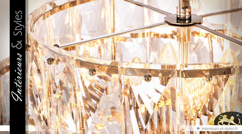 Grand lustre chic à pampilles-tuiles facettées 6 couronnes concentriques Ø 80 cm