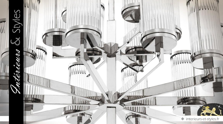 Lustre argent Art Déco 16 lanternes cylindriques verre cannelé Ø 75,5 cm