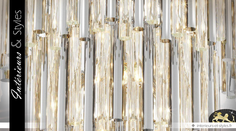 Lustre cascade de lumière argentée 4 niveaux 13 points de lumière 88 cm