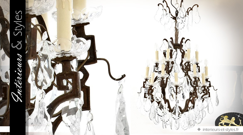 Lustre baroque finition bronze brun à pampilles verre cristallin 18 feux