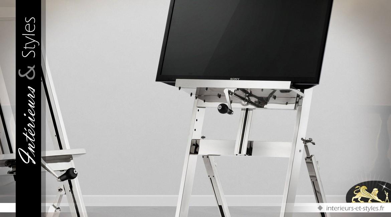 Chevalet multimédia nickel argenté sur roues réglable en hauteur 183 cm