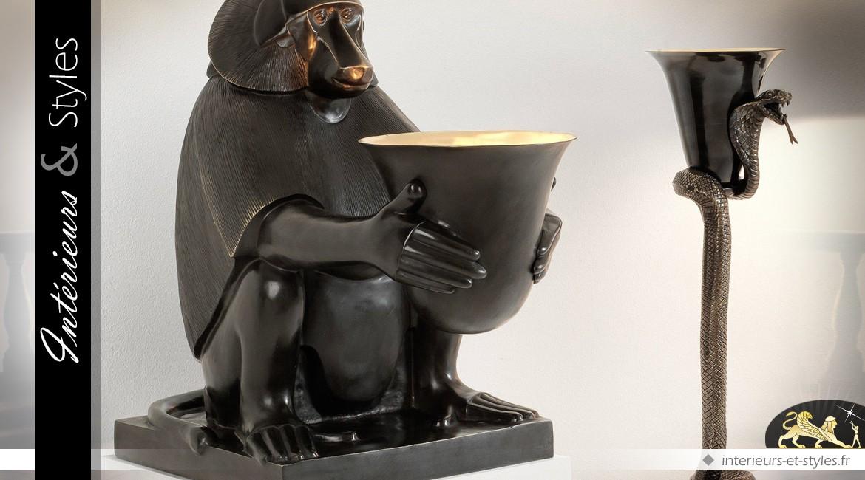 Lampe animalière Art Déco en bronze inspiration Dieu Thot 60 cm