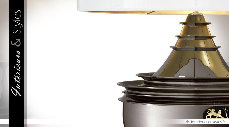 Trés grande lampe de salon platine et blanc brillant 120 cm